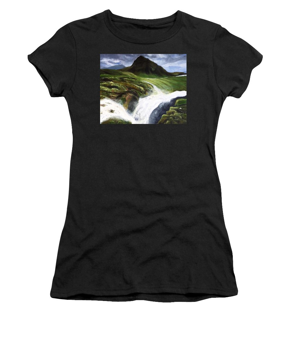 A Snapshot From Iceland Travels Women's T-Shirt (Athletic Fit) featuring the painting My Skogafoss by Vanipriya Ponnapalli