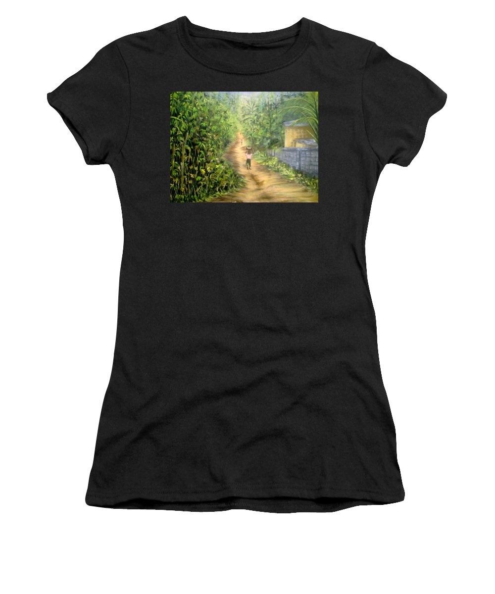 Culture Women's T-Shirt (Athletic Fit) featuring the painting My Village by Olaoluwa Smith