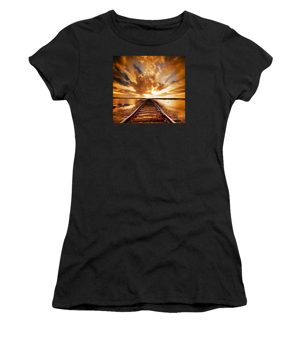 Water Women's T-Shirt (Athletic Fit) featuring the photograph My Way by Jacky Gerritsen