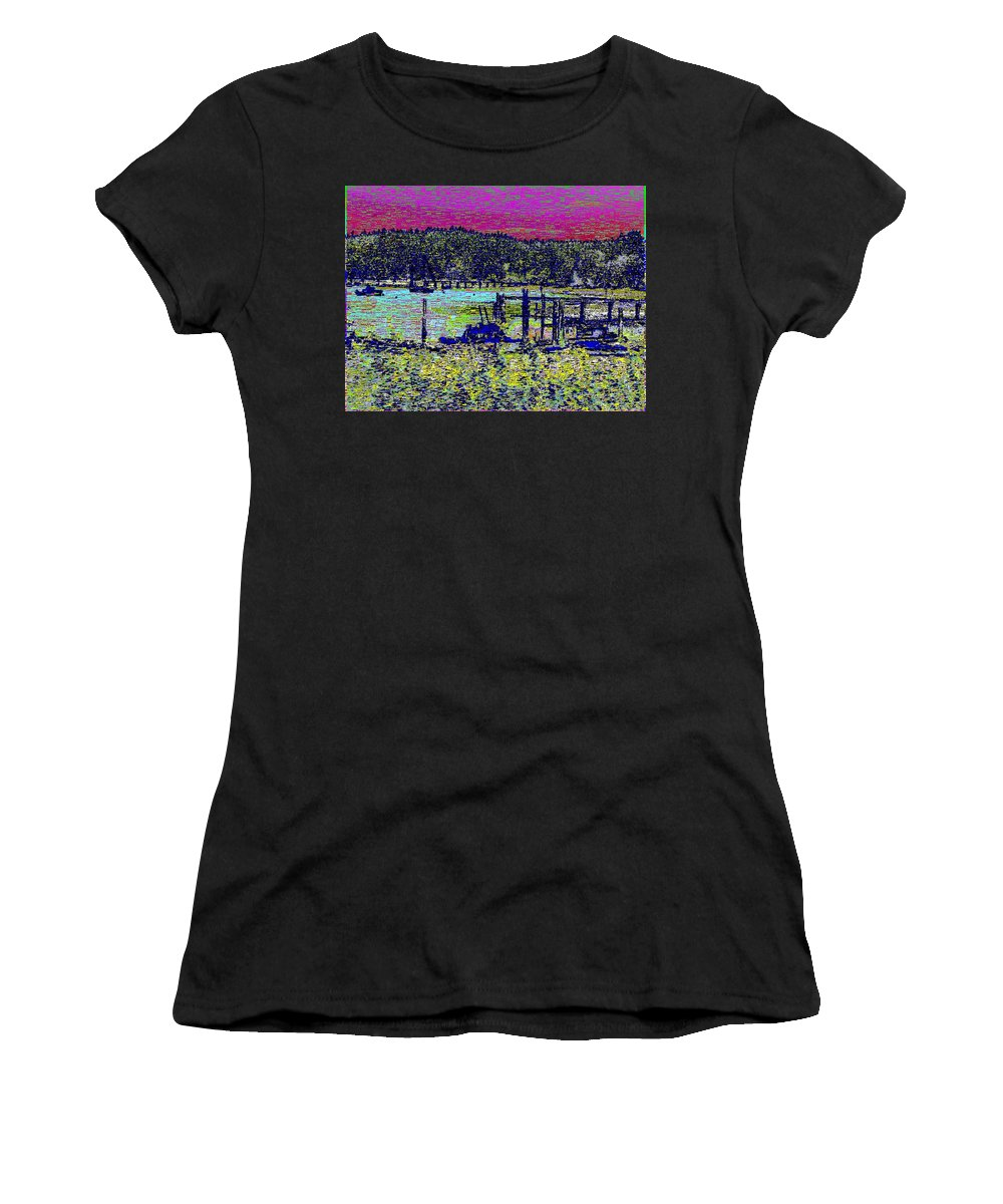 Mystery Bay Women's T-Shirt (Athletic Fit) featuring the digital art Mystery Bay At Sunset by Tim Allen