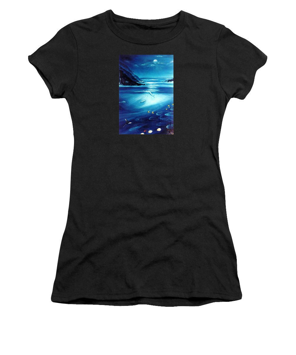 Seascape Women's T-Shirt (Athletic Fit) featuring the painting Mystic Moonlight by Dina Holland