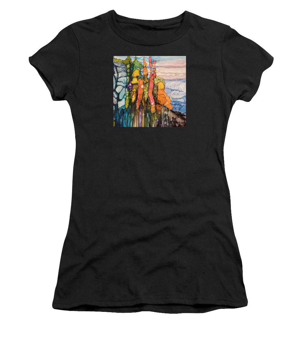 Landscape Women's T-Shirt featuring the painting Mystical Garden by Suzanne Canner