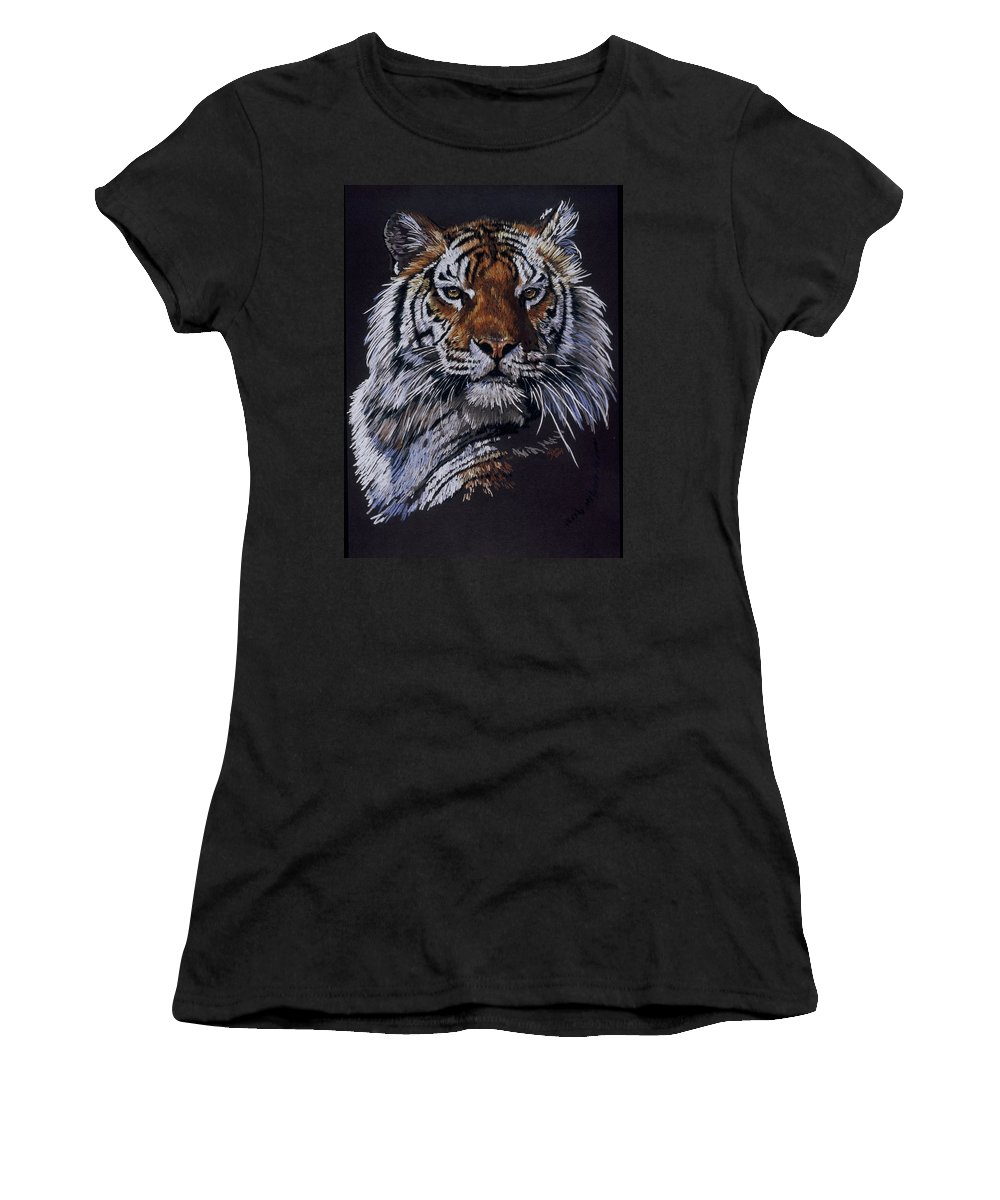 Tiger Women's T-Shirt (Athletic Fit) featuring the drawing Nakita by Barbara Keith