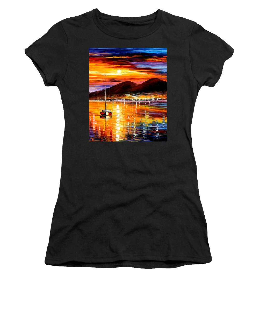 Afremov Women's T-Shirt (Athletic Fit) featuring the painting Naples - Sunset Above Vesuvius by Leonid Afremov