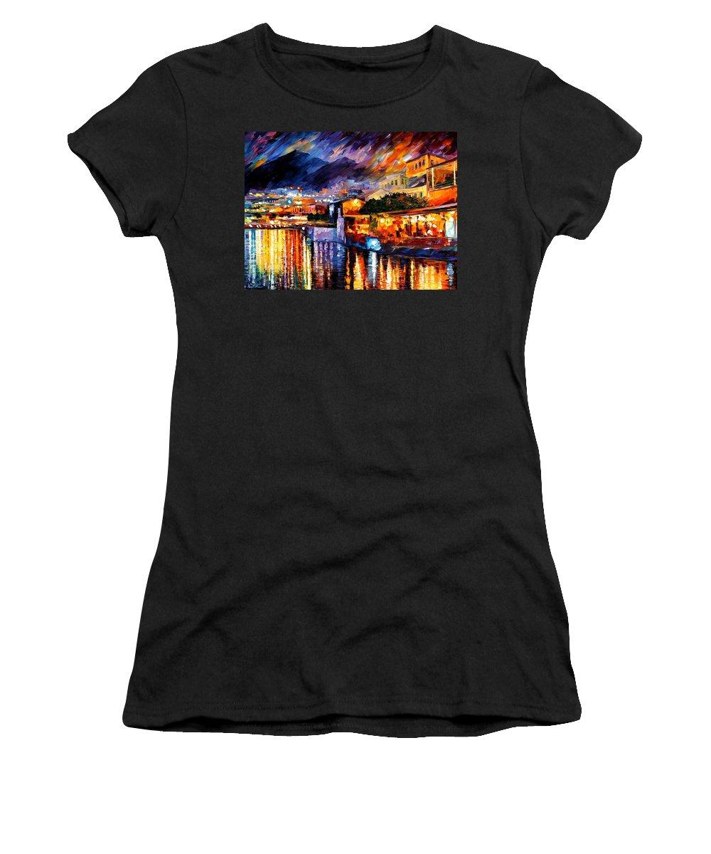 Afremov Women's T-Shirt (Athletic Fit) featuring the painting Naples - Vesuvius by Leonid Afremov