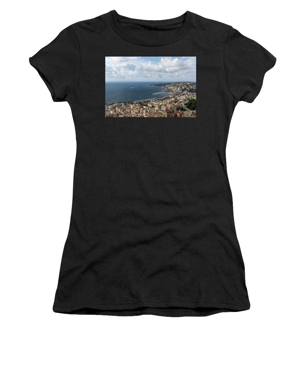 Georgia Mizuleva Women's T-Shirt (Athletic Fit) featuring the photograph Naples Italy Aerial Perspective - Coastal Beauty Of Mergellina, Posillipo And Marechiaro by Georgia Mizuleva