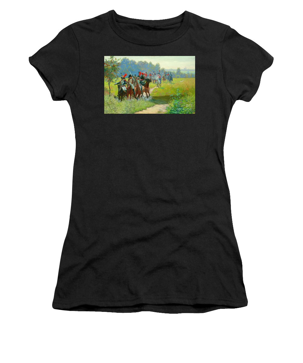 Horses Women's T-Shirt (Athletic Fit) featuring the painting Napoleon by Simon Kozhin