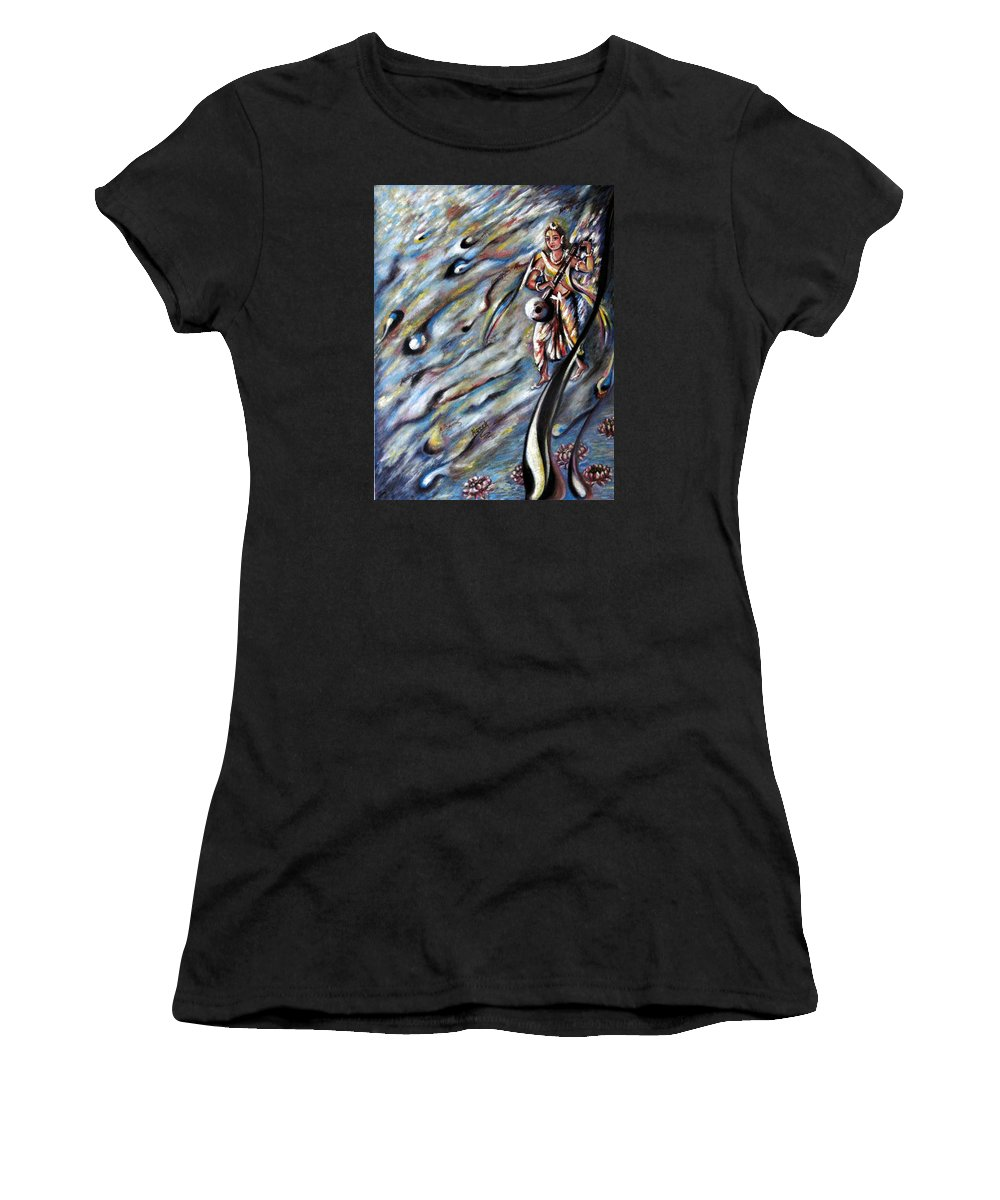 Narad Women's T-Shirt (Athletic Fit) featuring the painting Narada Muni by Harsh Malik