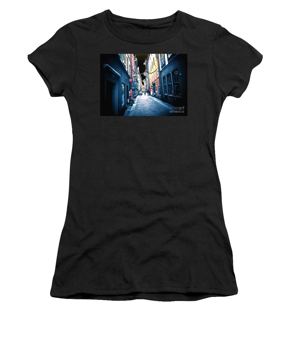 Sweden Women's T-Shirt (Athletic Fit) featuring the photograph Narrow Street Ready by GabeZ Art