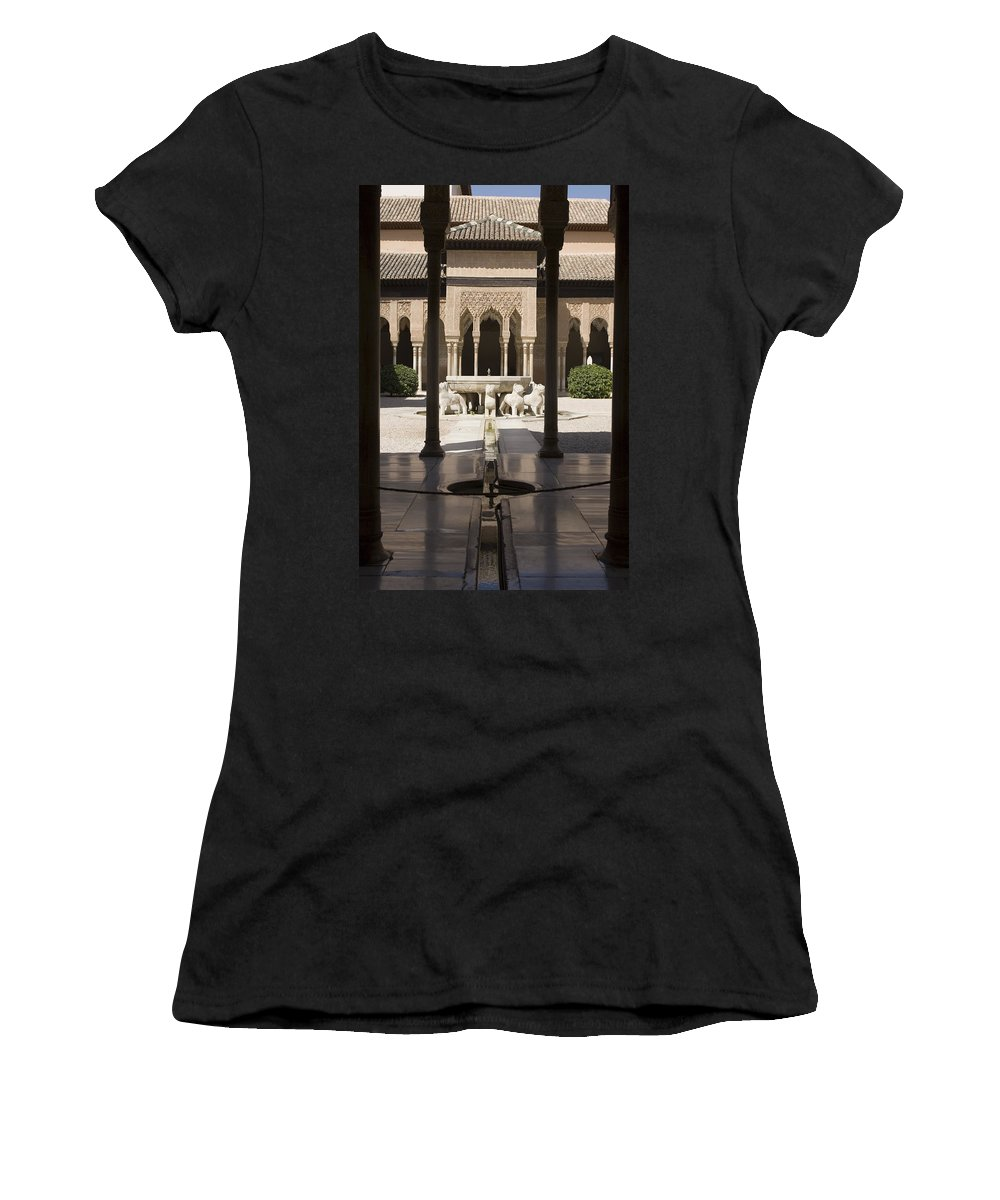Alhambra Women's T-Shirt (Athletic Fit) featuring the photograph Nasrid Palaces Alhambra Granada Spain Europe by Mal Bray