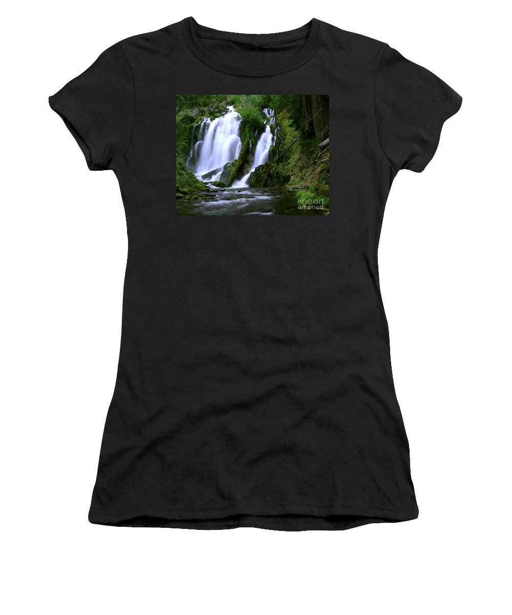 Waterfall Women's T-Shirt (Athletic Fit) featuring the photograph National Creek Falls 02 by Peter Piatt