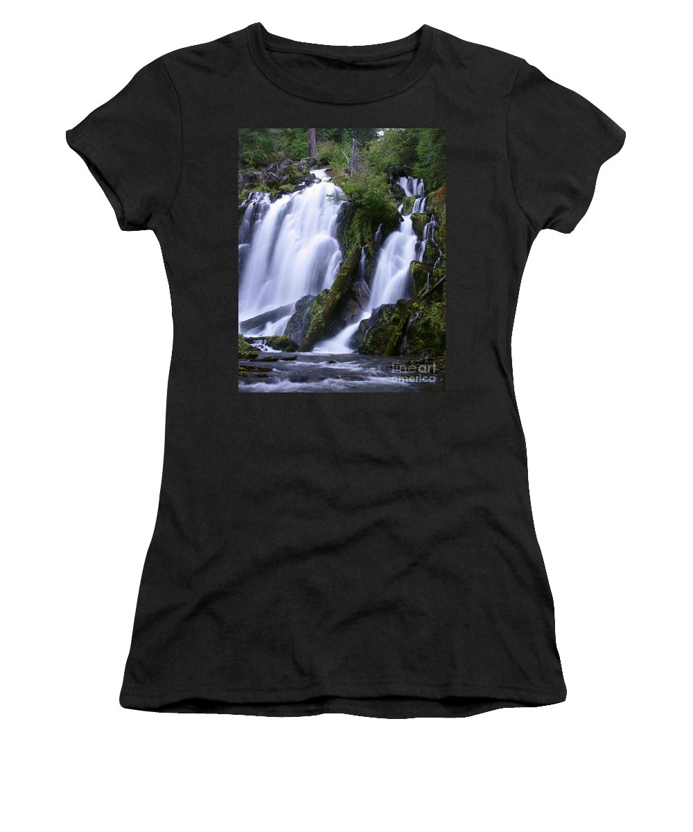 Waterfall Women's T-Shirt (Athletic Fit) featuring the photograph National Creek Falls 09 by Peter Piatt