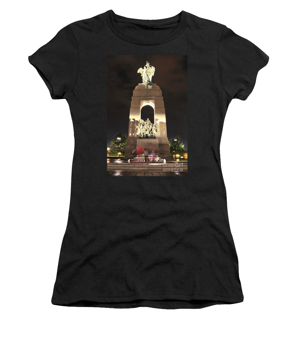 National Women's T-Shirt (Athletic Fit) featuring the photograph National War Memorial At Night by Joe Ng