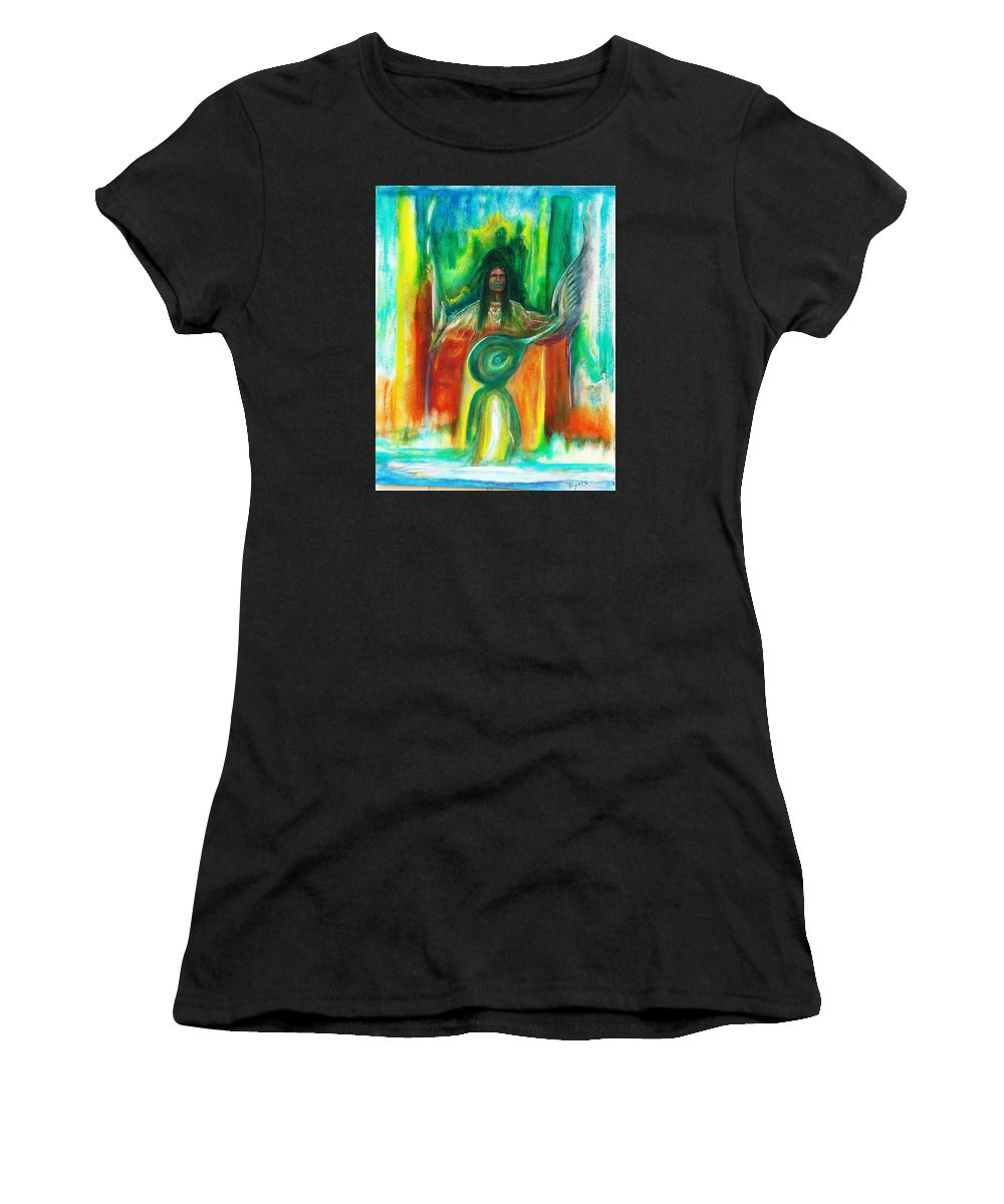 Native American Women's T-Shirt (Athletic Fit) featuring the painting Native Awakenings by Kicking Bear Productions