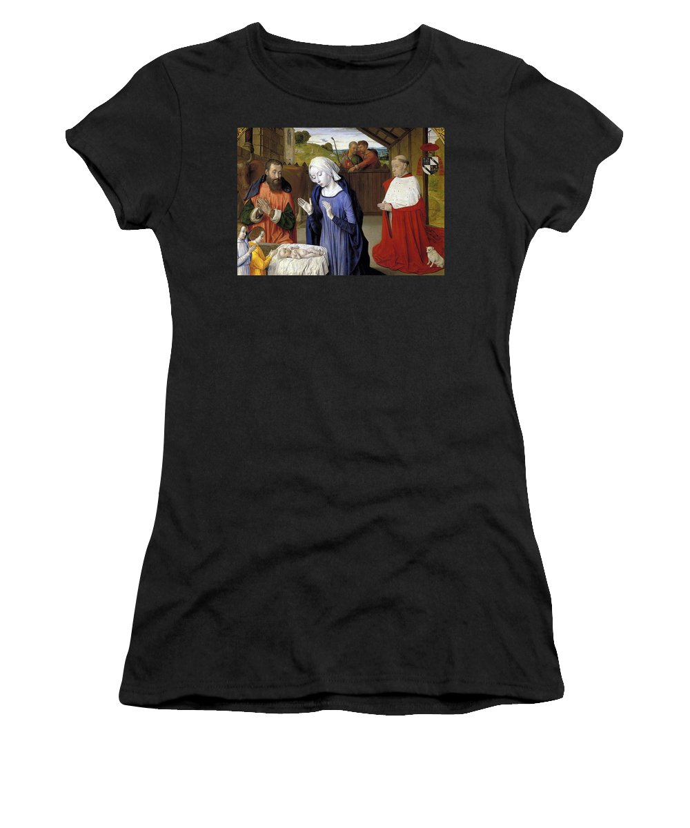 Christmas Women's T-Shirt (Athletic Fit) featuring the greeting card Nativity - Master Of Moulins by Munir Alawi