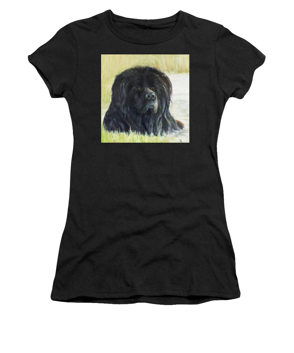 Dog Women's T-Shirt (Athletic Fit) featuring the painting Natural Bath by Kathryn Bell