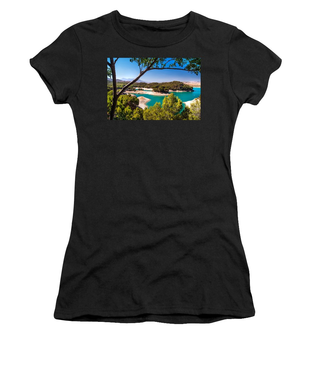 Women's T-Shirt (Athletic Fit) featuring the photograph Natural Framing. El Chorro. Spain by Jenny Rainbow