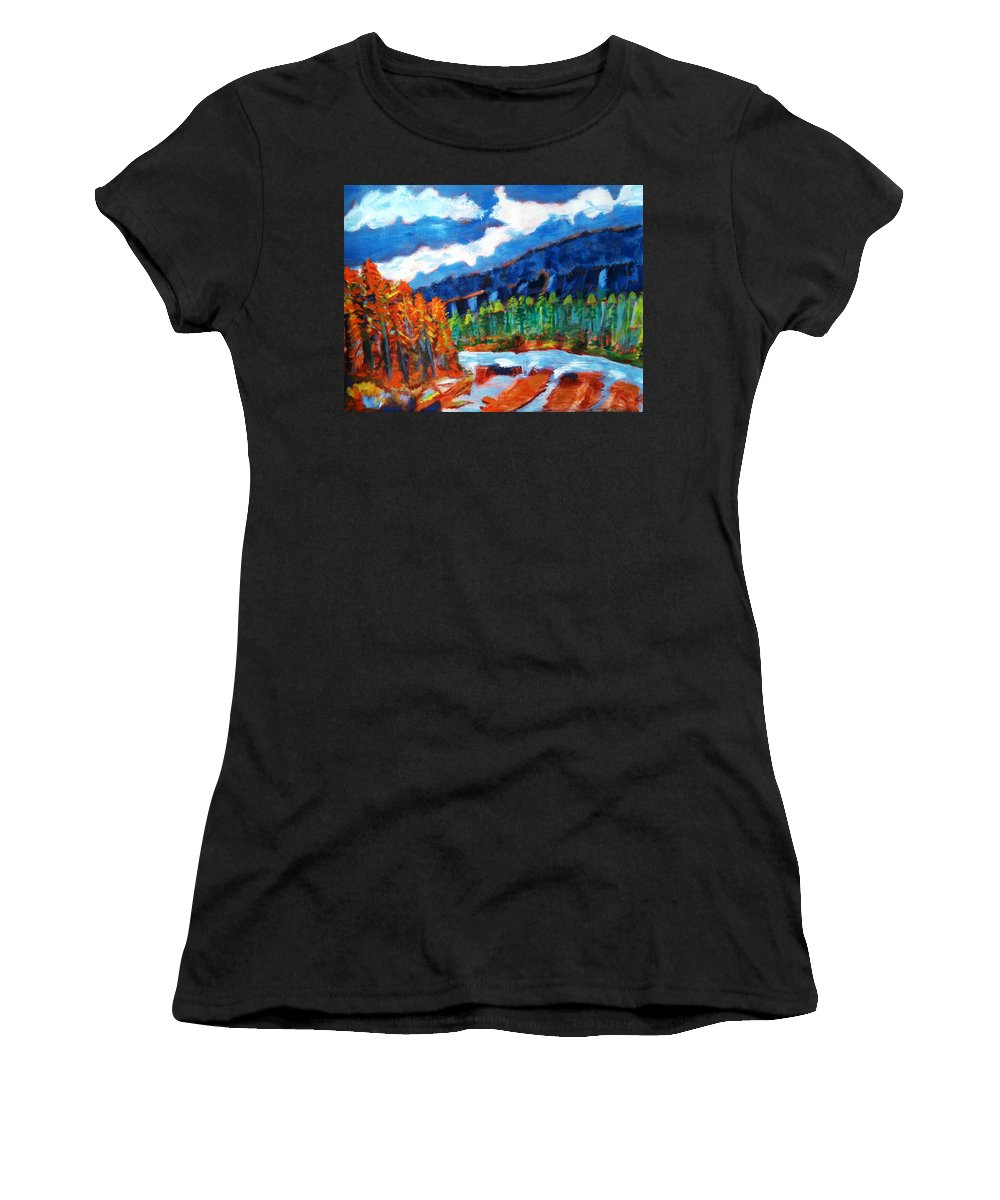 Mountains Women's T-Shirt (Athletic Fit) featuring the painting Naturals by R B