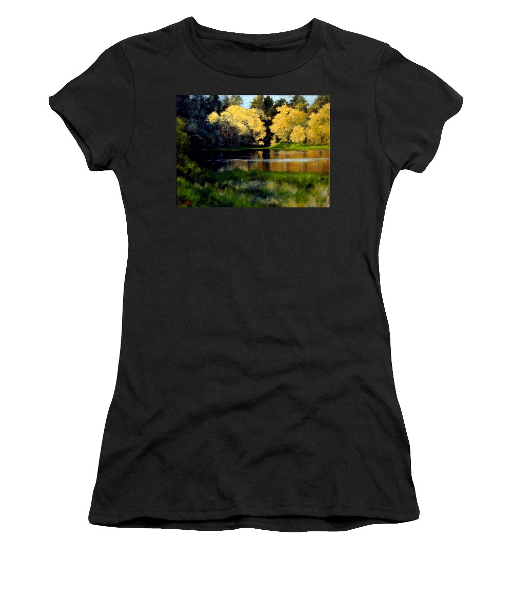 Landscape Women's T-Shirt (Athletic Fit) featuring the painting Nature Walk by Jim Gola