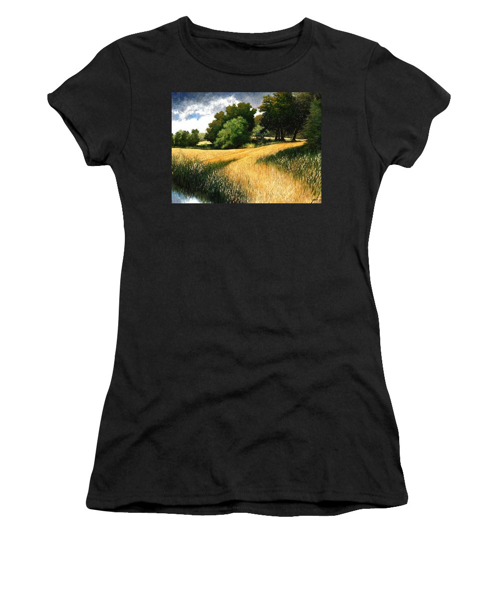 Landscape Women's T-Shirt (Athletic Fit) featuring the painting Nature Walk Ridgefield Washington by Jim Gola