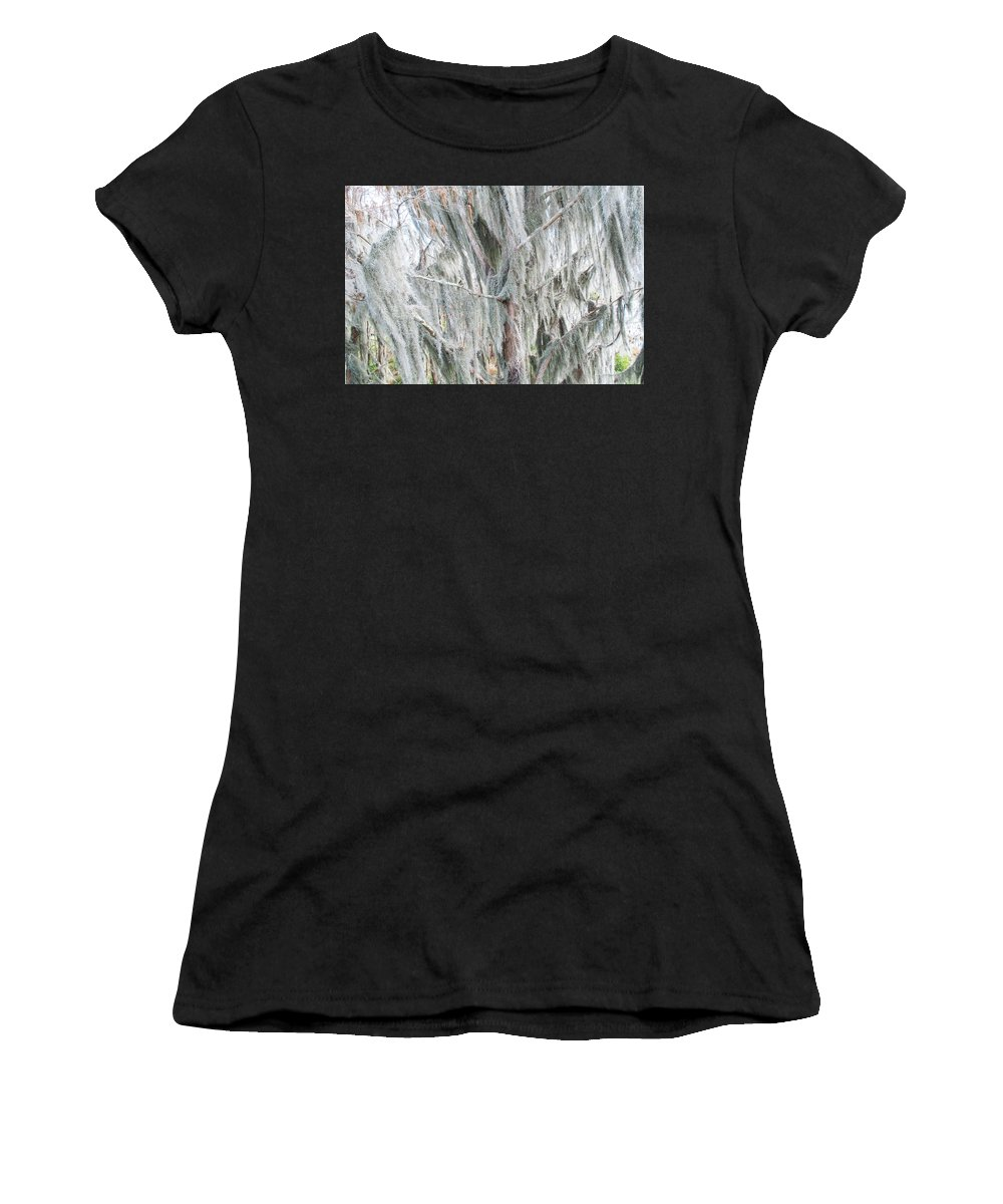 Spanish Moss Women's T-Shirt (Athletic Fit) featuring the photograph Natures Drapery At Okefenokee Swamp by Gregory Everts