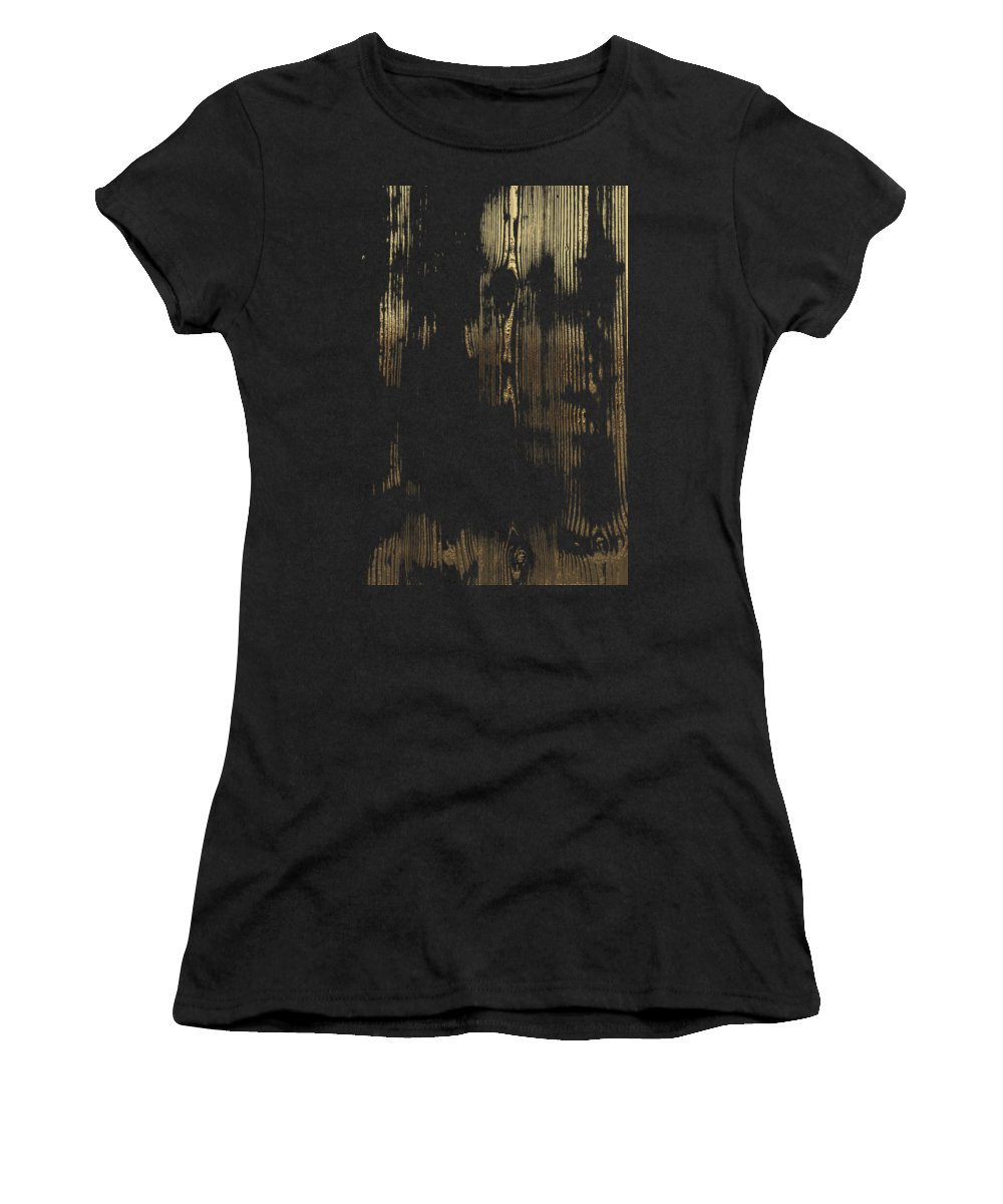 'inconsequential Beauty' Collection By Serge Averbukh Women's T-Shirt featuring the digital art Nature's Secret Code - The Wood Grain Message #3 by Serge Averbukh