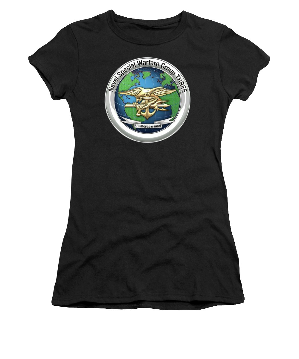 'military Insignia & Heraldry - Nswc' Collection By Serge Averbukh Women's T-Shirt (Athletic Fit) featuring the digital art Naval Special Warfare Group Three - Nswg-3 - On Black by Serge Averbukh