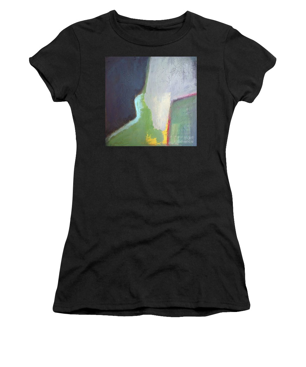 Abstract Women's T-Shirt featuring the painting Navy Gray Green Abstract by Vesna Antic