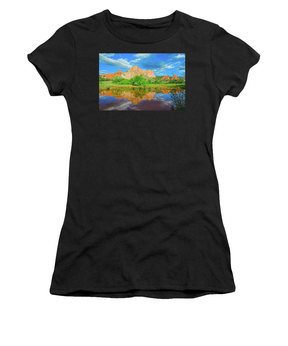 Garden Of The Gods Women's T-Shirt (Athletic Fit) featuring the photograph Nearly 2 Million People Rollick In This World-famous City Park Every Year. by Bijan Pirnia