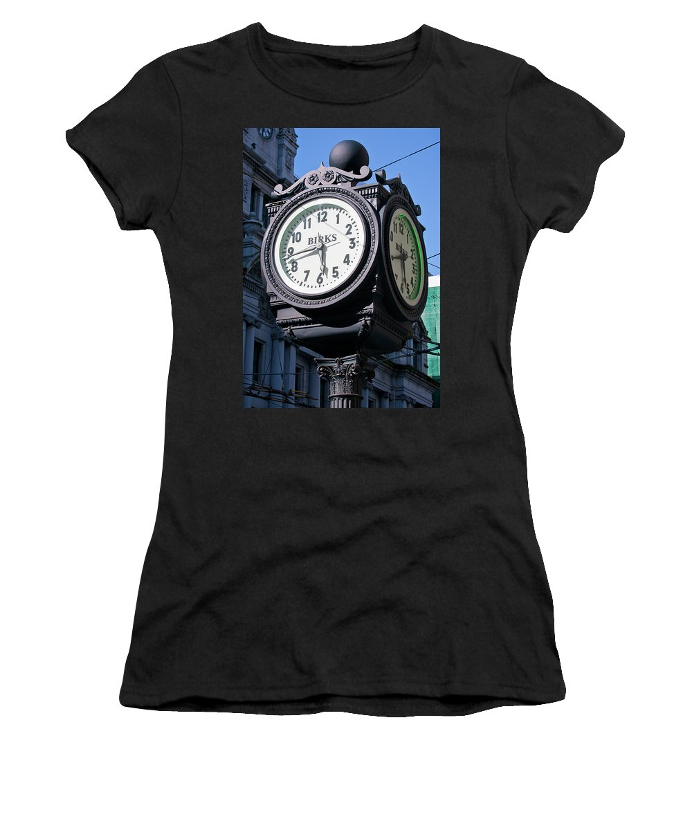 Clock Women's T-Shirt featuring the photograph Nearly A Quarter To Six by Chris Dutton
