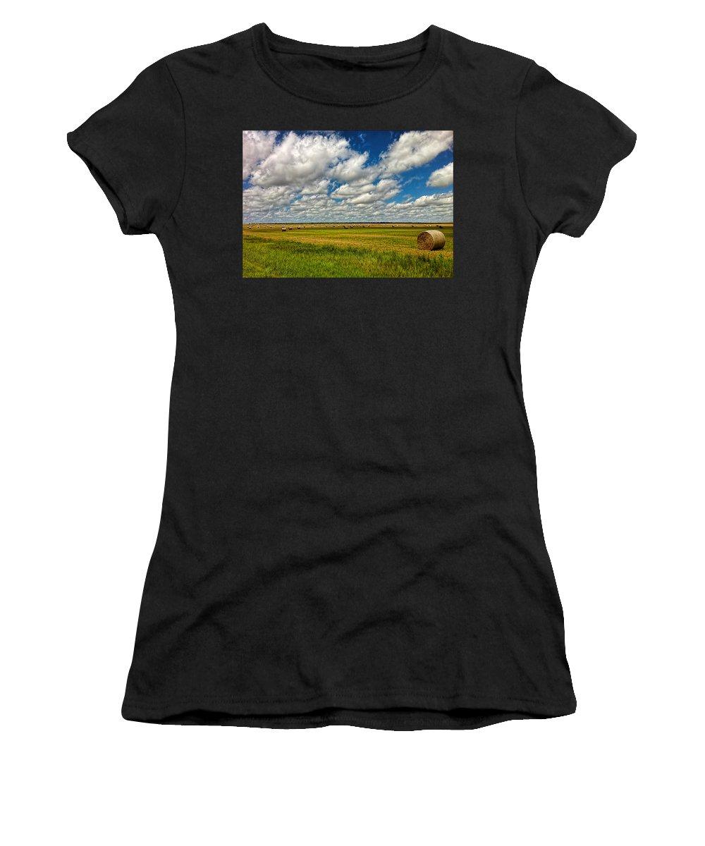 Nebraska Women's T-Shirt (Athletic Fit) featuring the photograph Nebraska Wheat Fields by Ginger Wakem