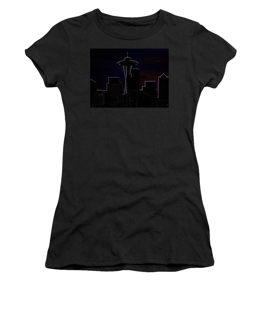 Seattle Women's T-Shirt (Athletic Fit) featuring the photograph Needle From Kerry Park 2 by Tim Allen