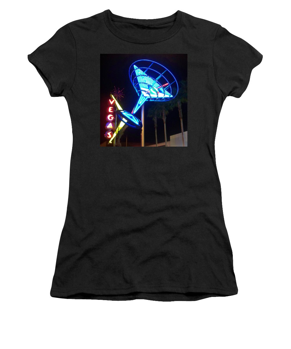 Vegas Women's T-Shirt (Athletic Fit) featuring the photograph Neon Signs 1 by Anita Burgermeister
