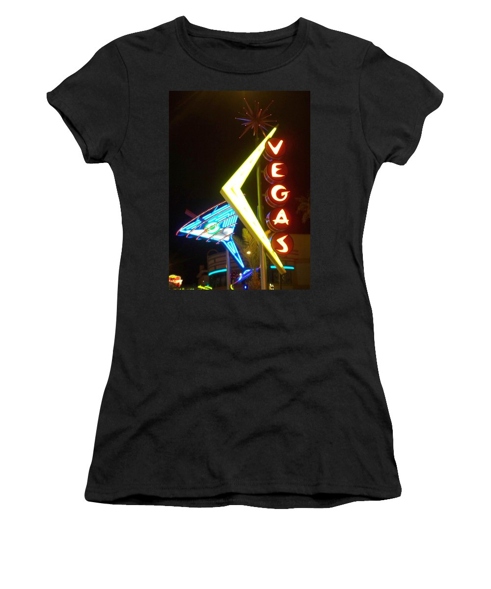 Fremont East Women's T-Shirt (Athletic Fit) featuring the photograph Neon Signs 3 by Anita Burgermeister