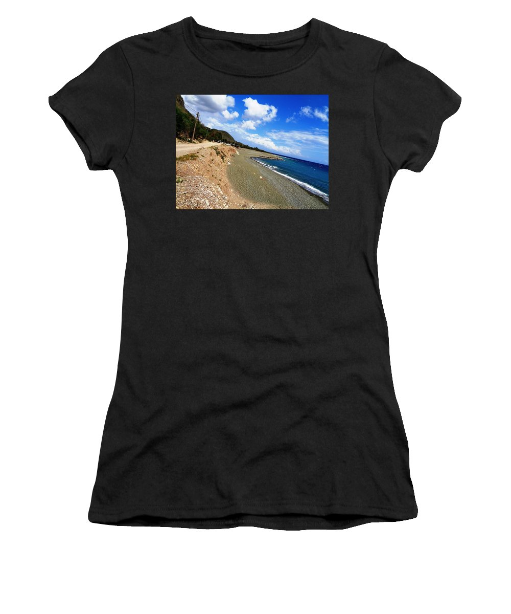 Beach Women's T-Shirt (Athletic Fit) featuring the photograph Nestaz Beach by Rory Dunn