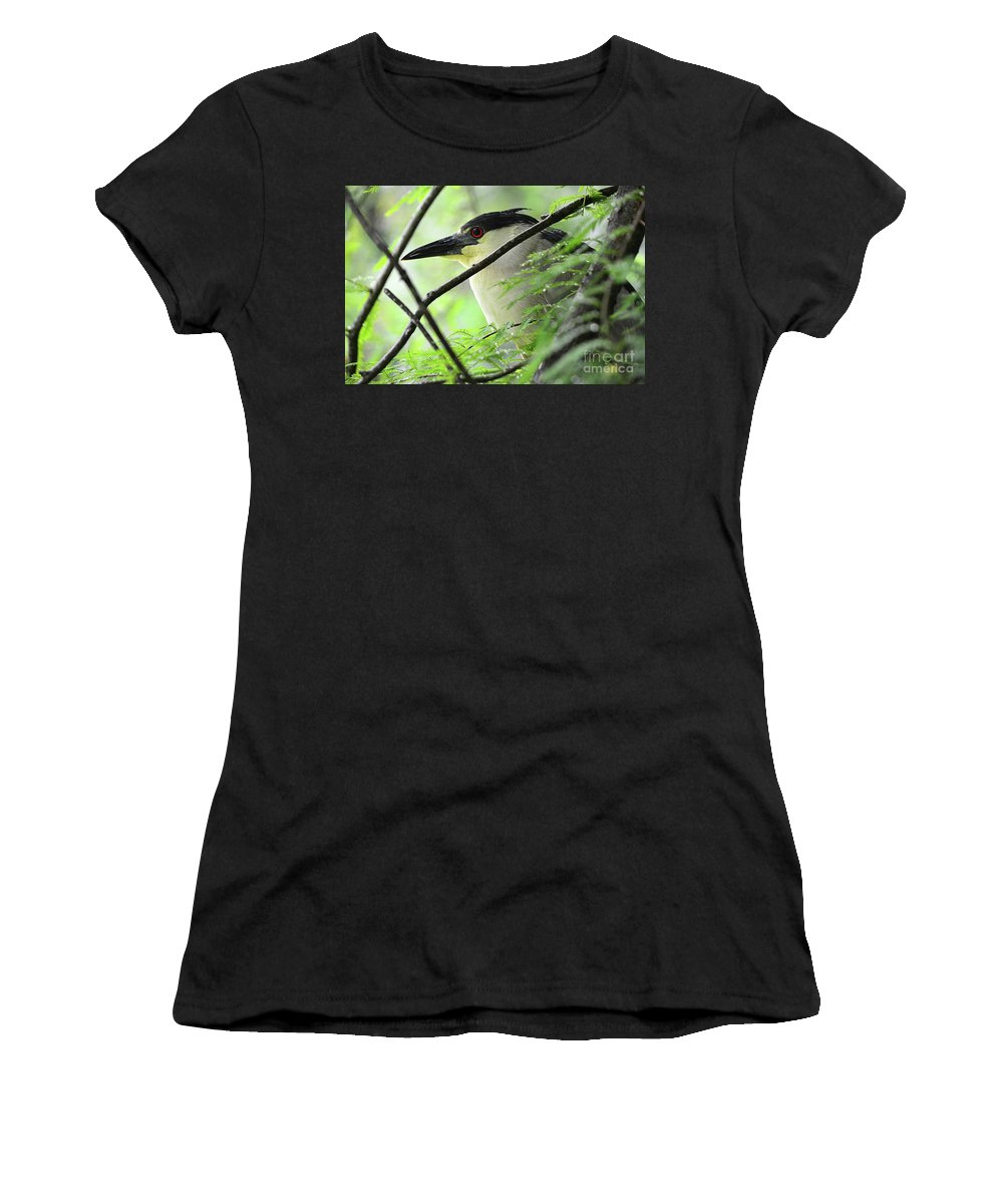 Bird Women's T-Shirt (Athletic Fit) featuring the photograph Nestled Night Heron by Spade Photo