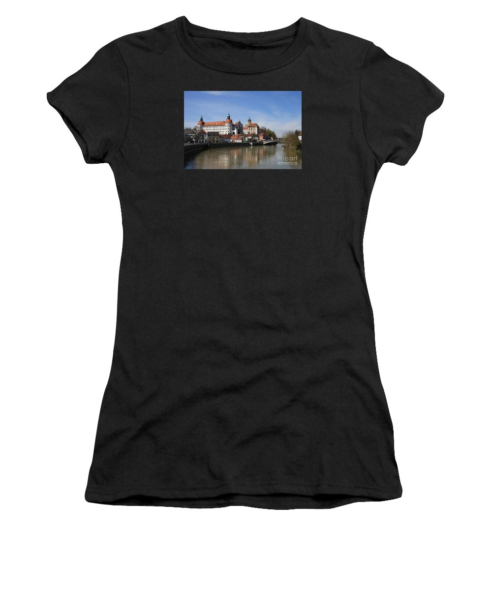 River Women's T-Shirt (Athletic Fit) featuring the photograph Neuburg Donau - Germany by Christiane Schulze Art And Photography