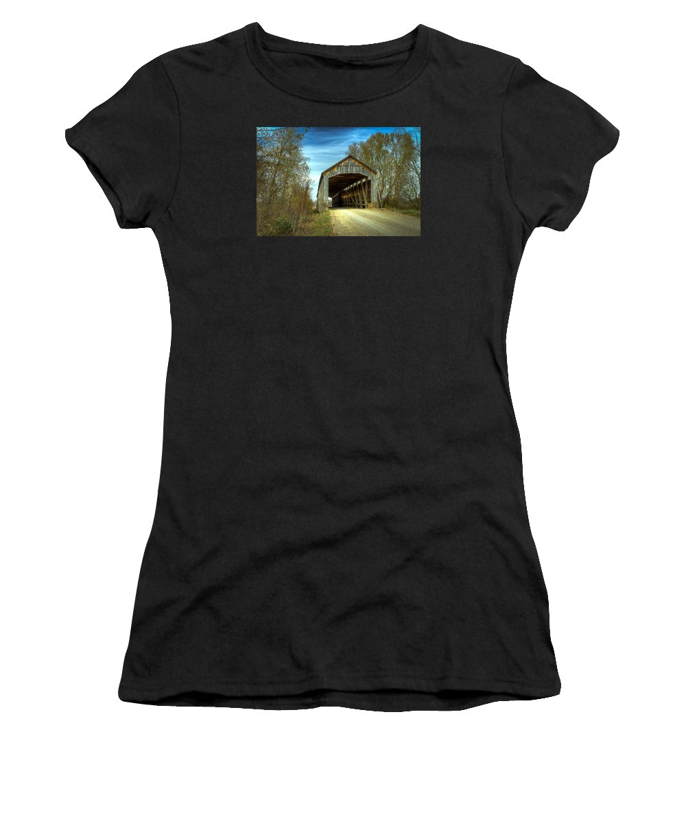 Parke Women's T-Shirt (Athletic Fit) featuring the photograph Nevins Covered Bridge by Jack R Perry
