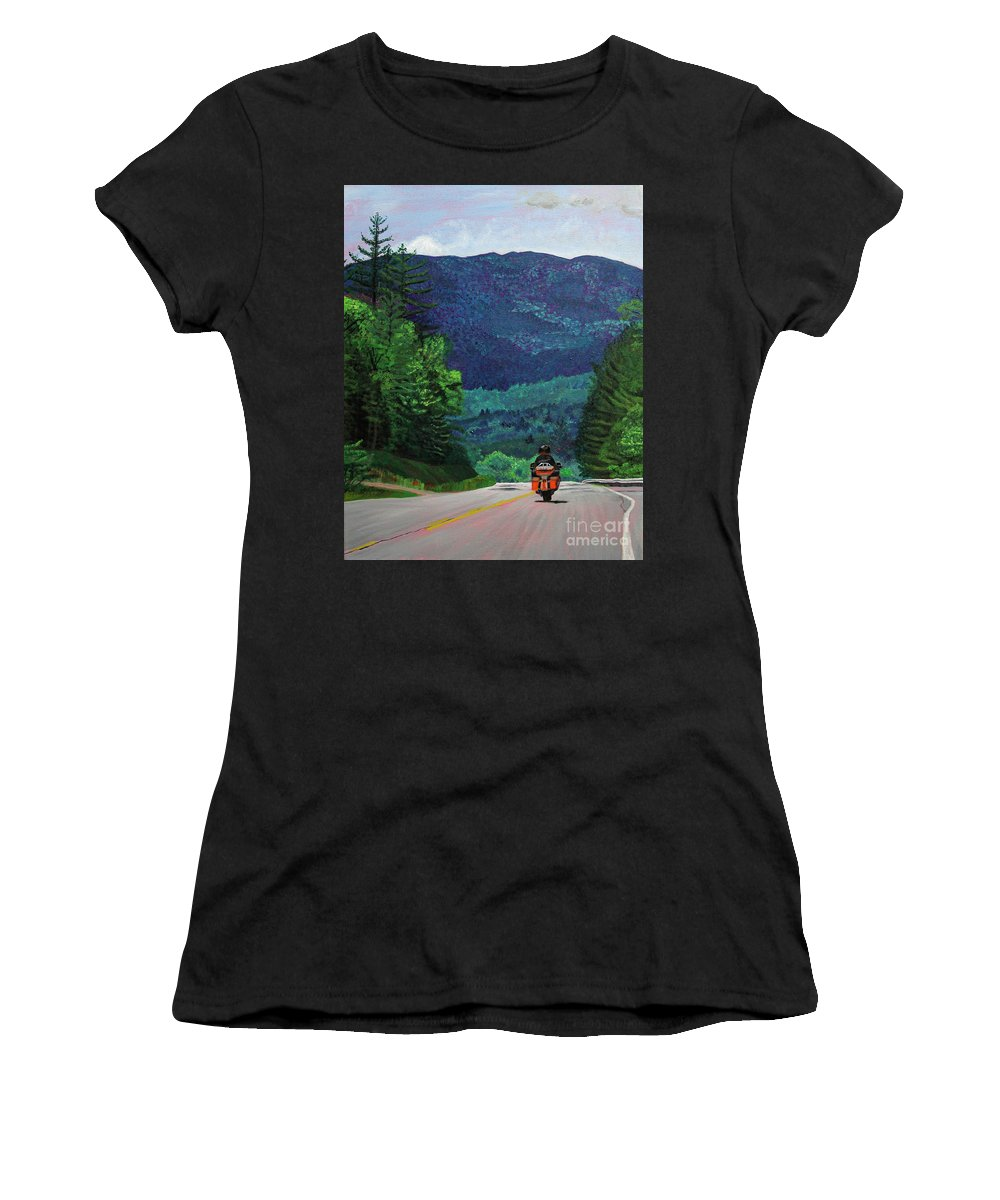 New England Women's T-Shirt (Athletic Fit) featuring the painting New England Journeys - Motorcycle 2 by Marina McLain
