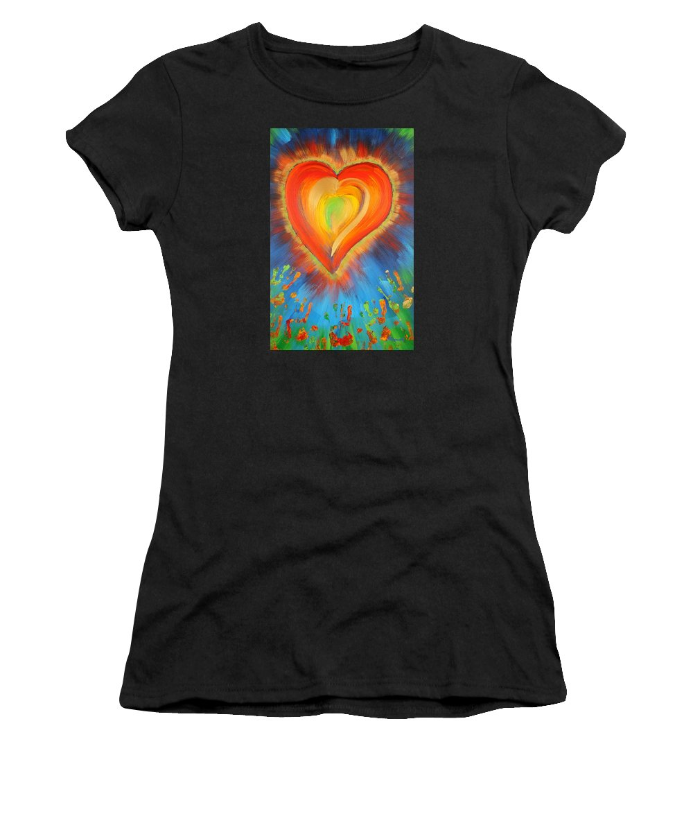 Heart Women's T-Shirt (Athletic Fit) featuring the painting New Heart by Gary Rowell