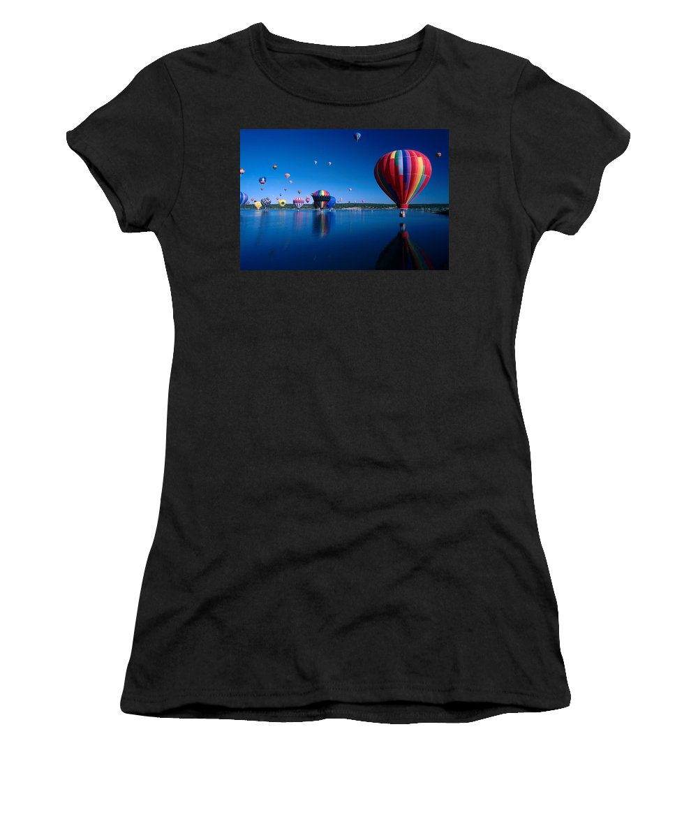 Hot Air Balloon Women's T-Shirt (Athletic Fit) featuring the photograph New Mexico Hot Air Balloons by Jerry McElroy