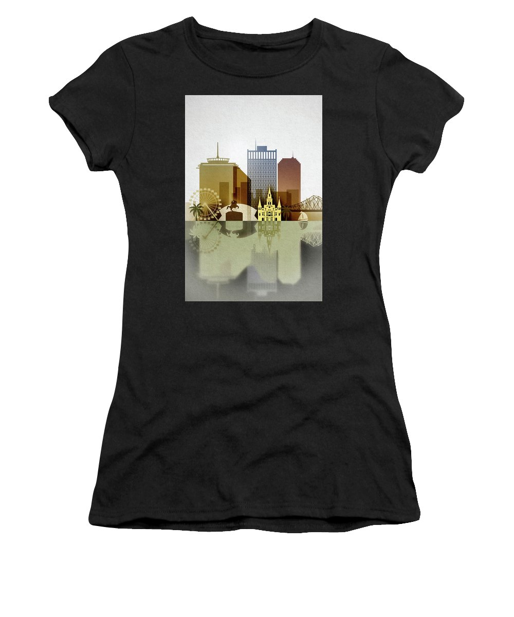 New Orleans Women's T-Shirt (Athletic Fit) featuring the digital art New Orleans Skyline by Dim Dom
