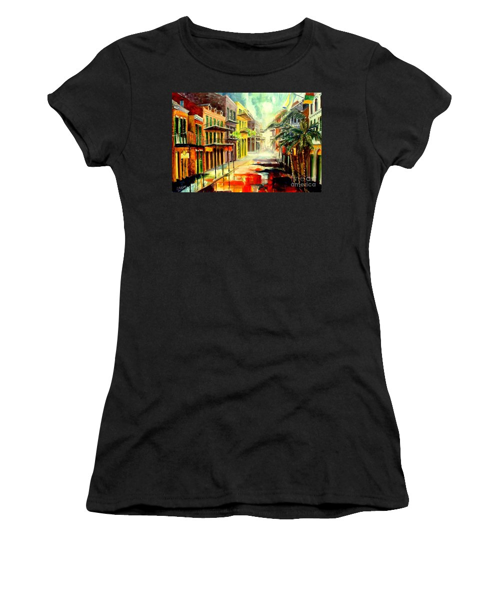 New Orleans Women's T-Shirt (Athletic Fit) featuring the painting New Orleans Summer Rain by Diane Millsap