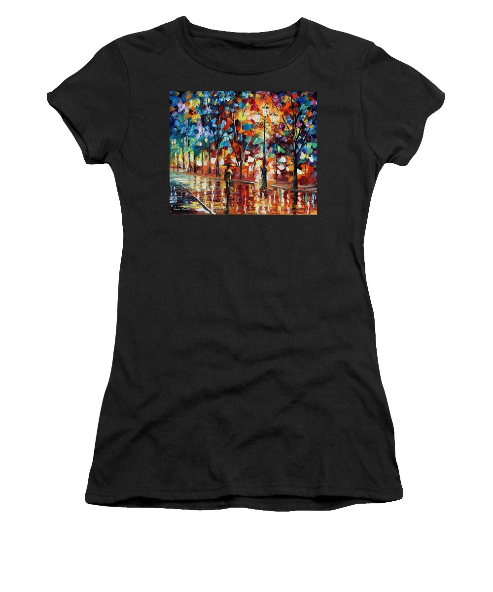 Afremov Women's T-Shirt (Athletic Fit) featuring the painting New Park by Leonid Afremov