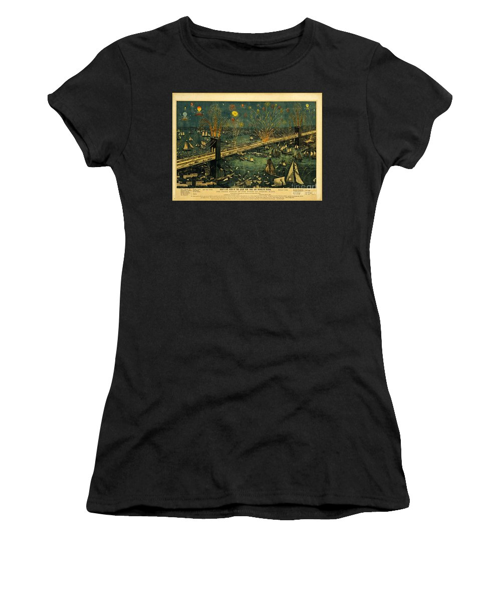 Brooklyn Bridge Women's T-Shirt (Athletic Fit) featuring the photograph New York And Brooklyn Bridge Opening Night Fireworks by John Stephens