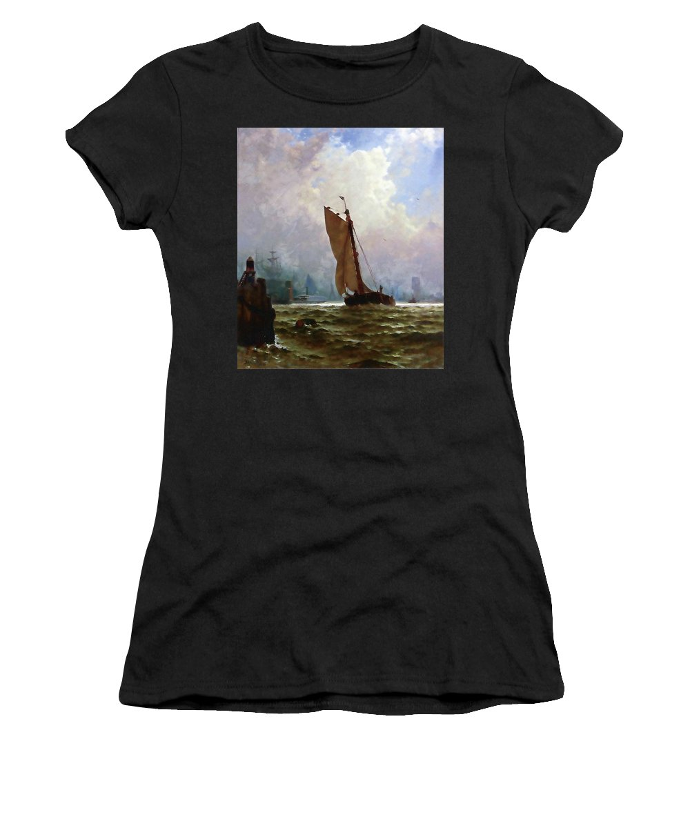 Landscape Women's T-Shirt (Athletic Fit) featuring the painting New York Harbor With The Brooklyn Bridge Under Construction by Media Impasto Paper