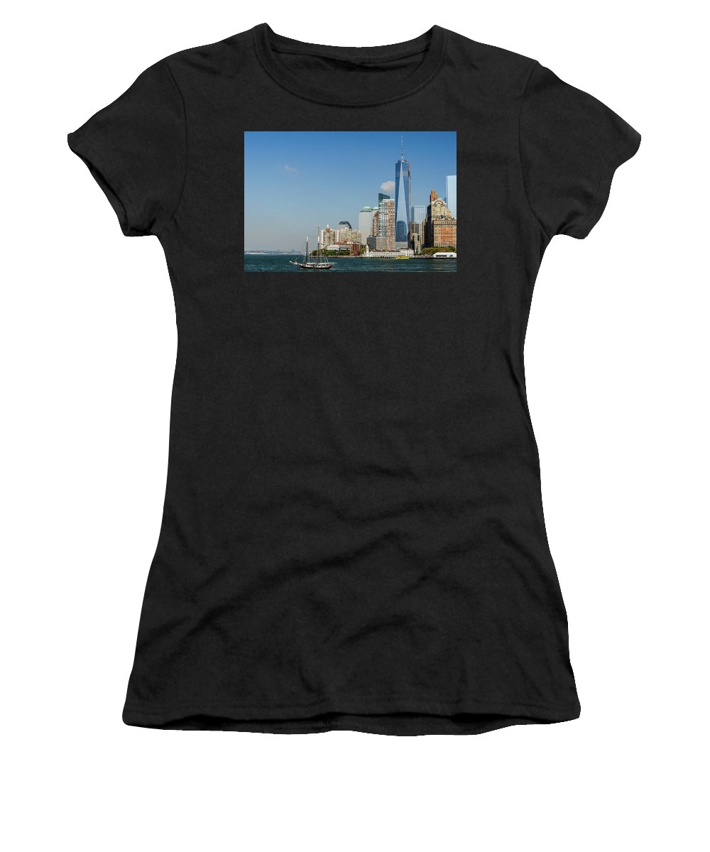 New York Women's T-Shirt (Athletic Fit) featuring the photograph New York Skyline And Sailboat by Chris Augliera