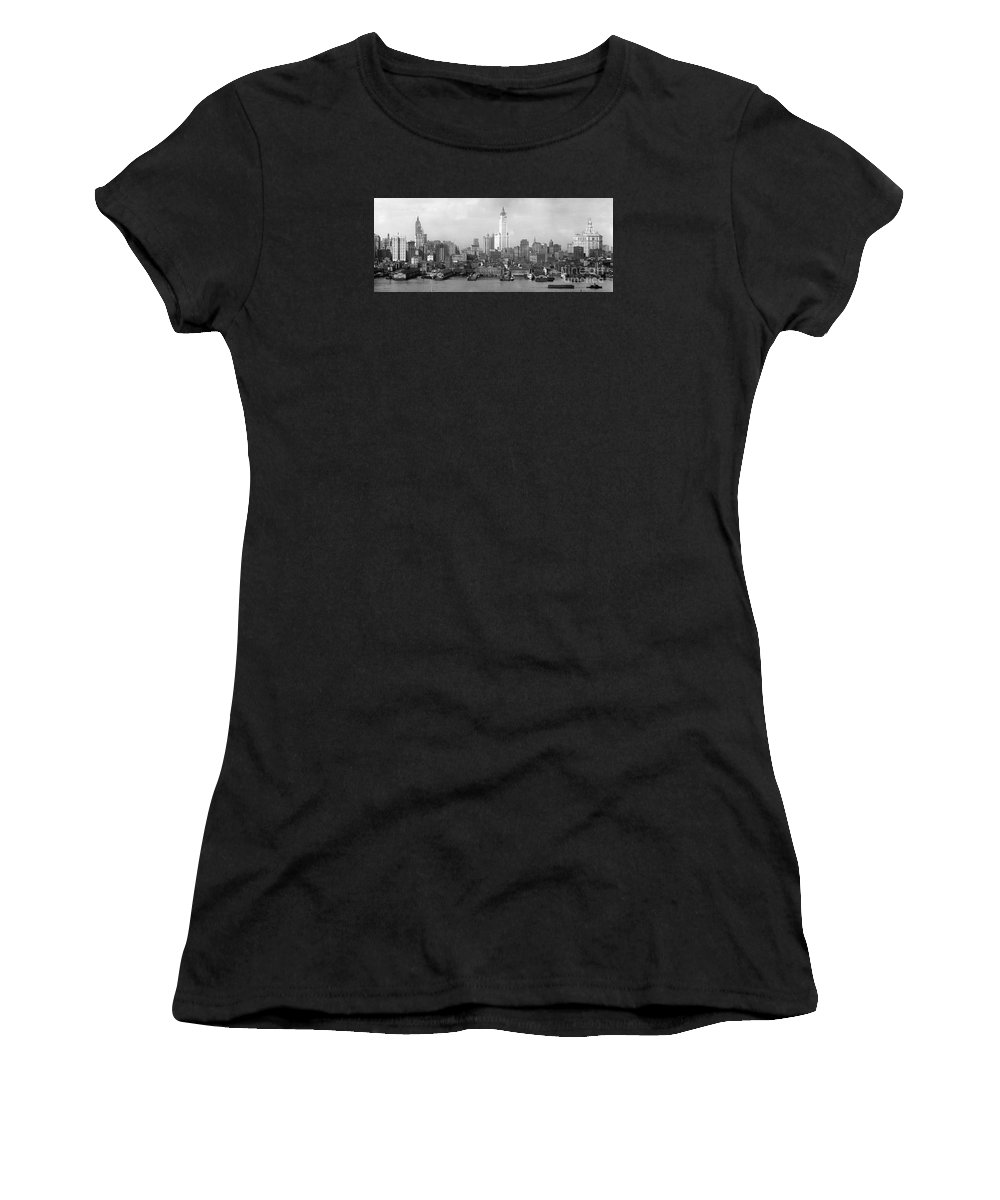 New York Skyline From Brooklyn (c. 1910-20) Women's T-Shirt (Athletic Fit) featuring the painting New York Skyline From Brooklyn by Celestial Images
