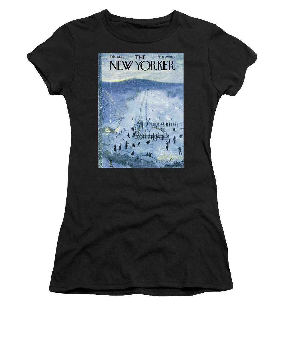 Skiing Women's T-Shirt featuring the painting New Yorker February 18 1956 by Garrett Price