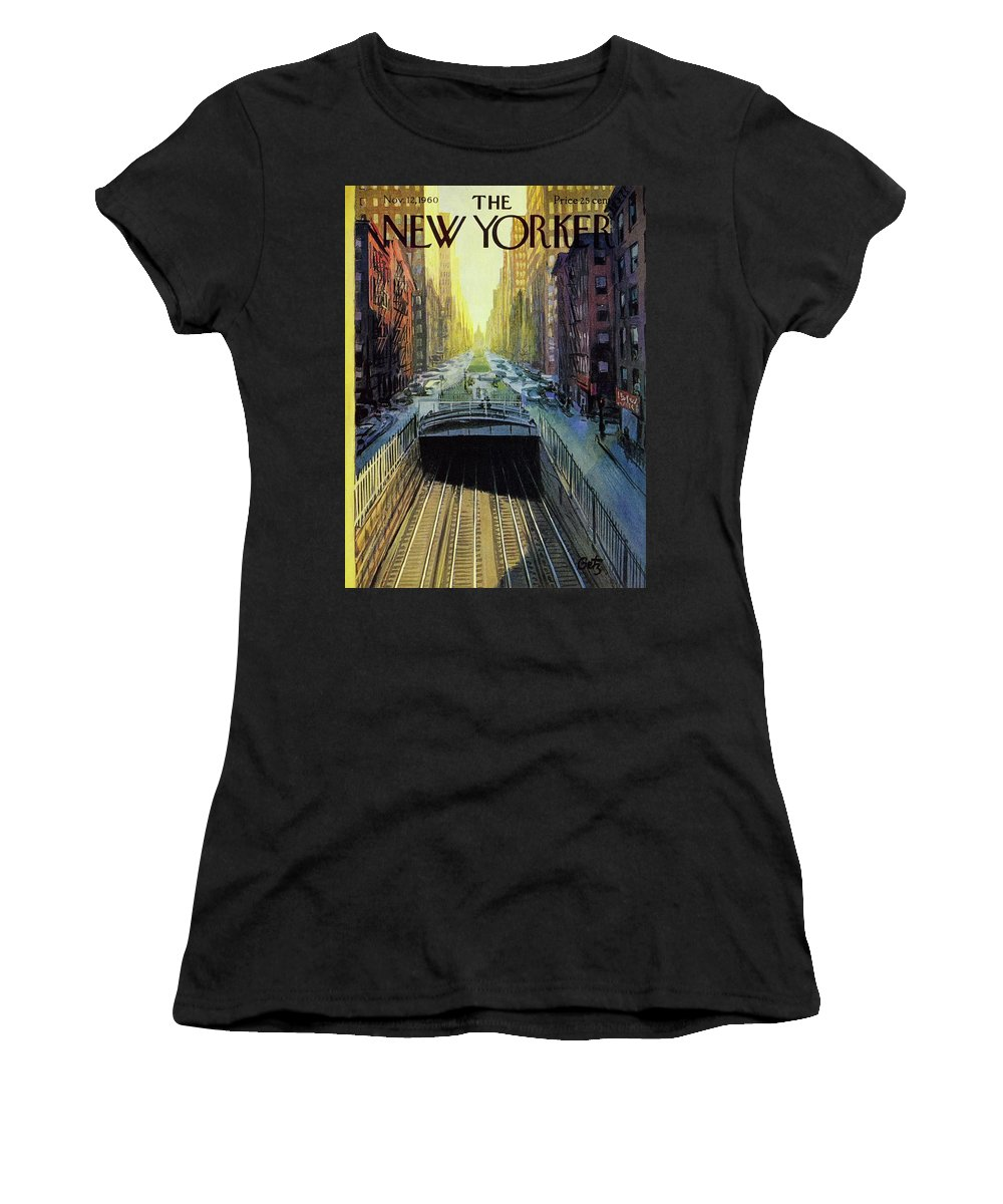 Illustration Women's T-Shirt featuring the painting New Yorker November 12 1960 by Arthur Getz